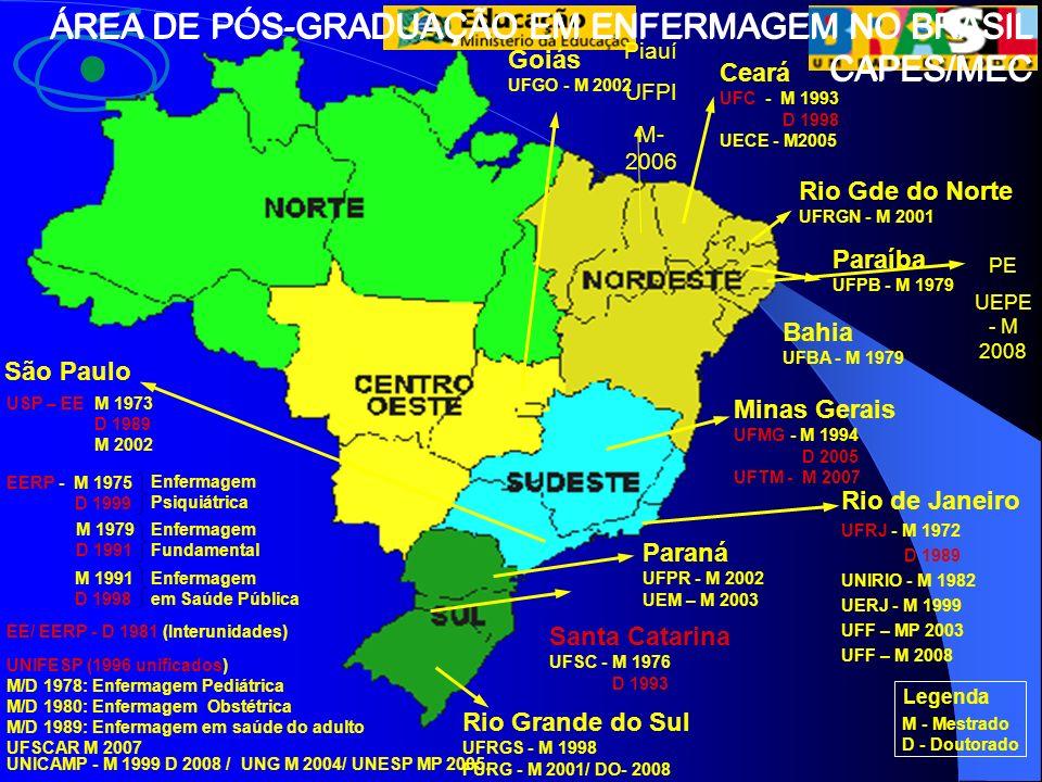 ÁREA DE PÓS-GRADUAÇÃO EM ENFERMAGEM NO BRASIL CAPES/MEC Legenda M - Mestrado D - Doutorado Paraíba UFPB - M 1979 Bahia UFBA - M 1979 Minas Gerais UFMG