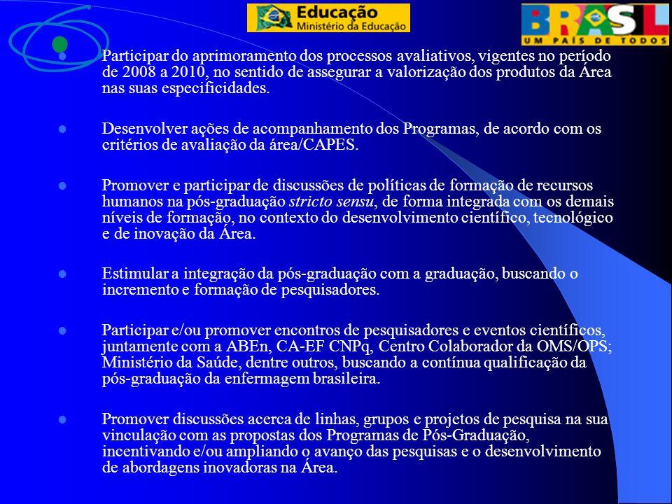 Participar do aprimoramento dos processos avaliativos, vigentes no período de 2008 a 2010, no sentido de assegurar a valorização dos produtos da Área