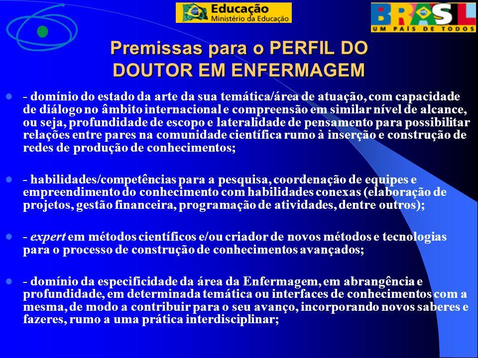 Premissas para o PERFIL DO DOUTOR EM ENFERMAGEM - domínio do estado da arte da sua temática/área de atuação, com capacidade de diálogo no âmbito inter