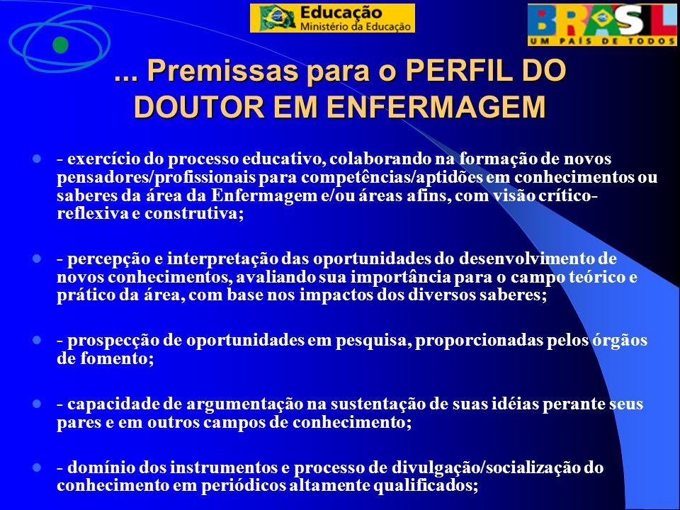 ... Premissas para o PERFIL DO DOUTOR EM ENFERMAGEM - exercício do processo educativo, colaborando na formação de novos pensadores/profissionais para