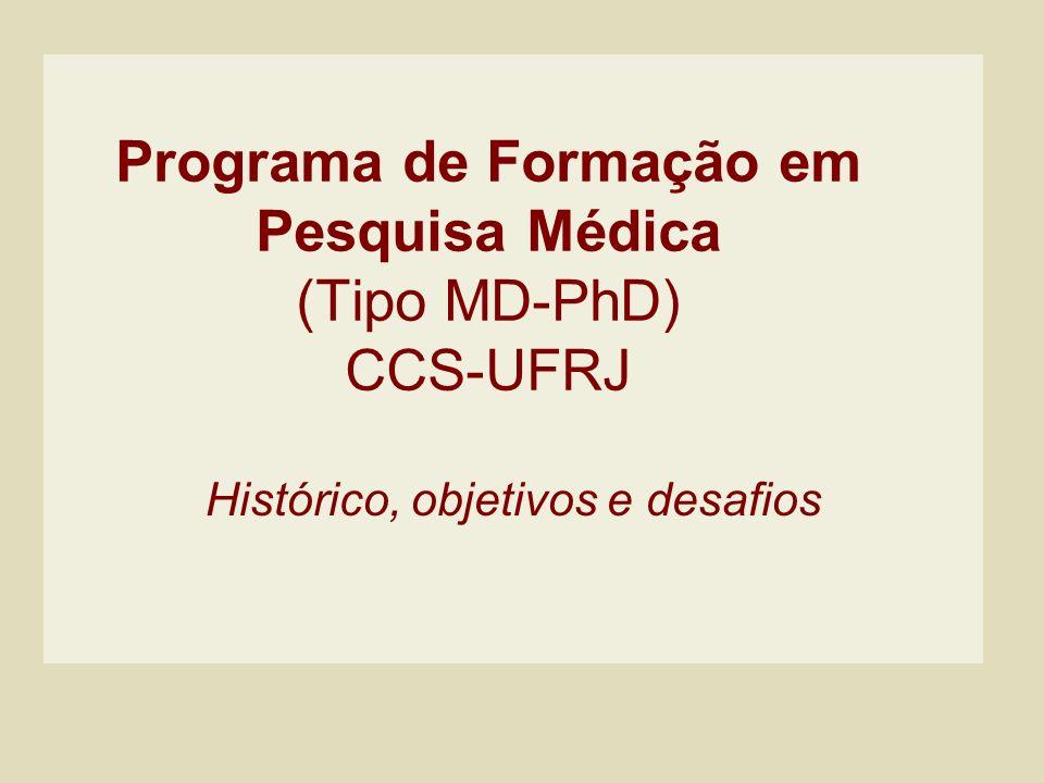 Programa de Formação em Pesquisa Médica (Tipo MD-PhD) CCS-UFRJ Histórico, objetivos e desafios