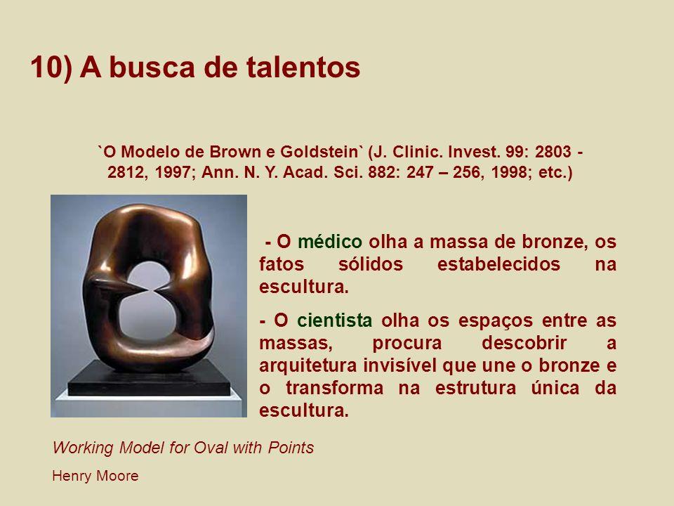 10) A busca de talentos `O Modelo de Brown e Goldstein` (J. Clinic. Invest. 99: 2803 - 2812, 1997; Ann. N. Y. Acad. Sci. 882: 247 – 256, 1998; etc.) -