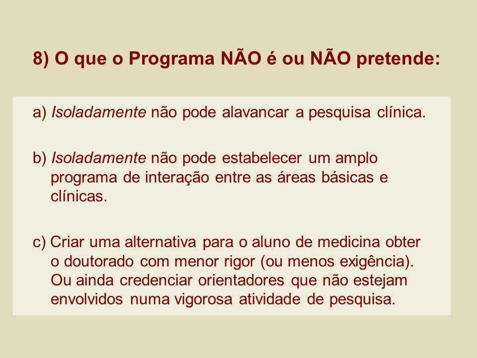 8) O que o Programa NÃO é ou NÃO pretende: a) Isoladamente não pode alavancar a pesquisa clínica. b) Isoladamente não pode estabelecer um amplo progra