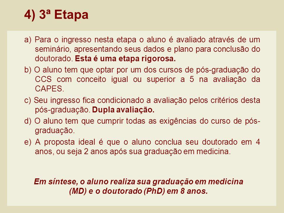 4) 3ª Etapa a) Para o ingresso nesta etapa o aluno é avaliado através de um seminário, apresentando seus dados e plano para conclusão do doutorado. Es