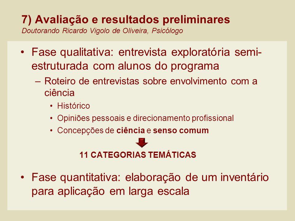 7) Avaliação e resultados preliminares Doutorando Ricardo Vigolo de Oliveira, Psicólogo Fase qualitativa: entrevista exploratória semi- estruturada co