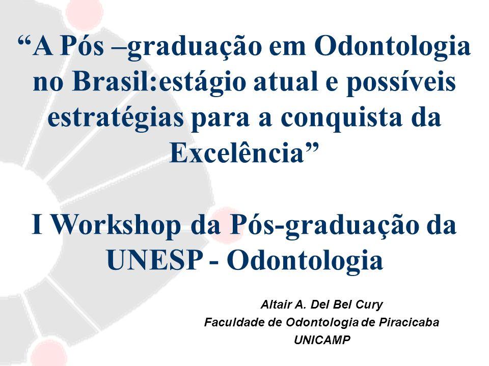 A Pós –graduação em Odontologia no Brasil:estágio atual e possíveis estratégias para a conquista da Excelência I Workshop da Pós-graduação da UNESP -