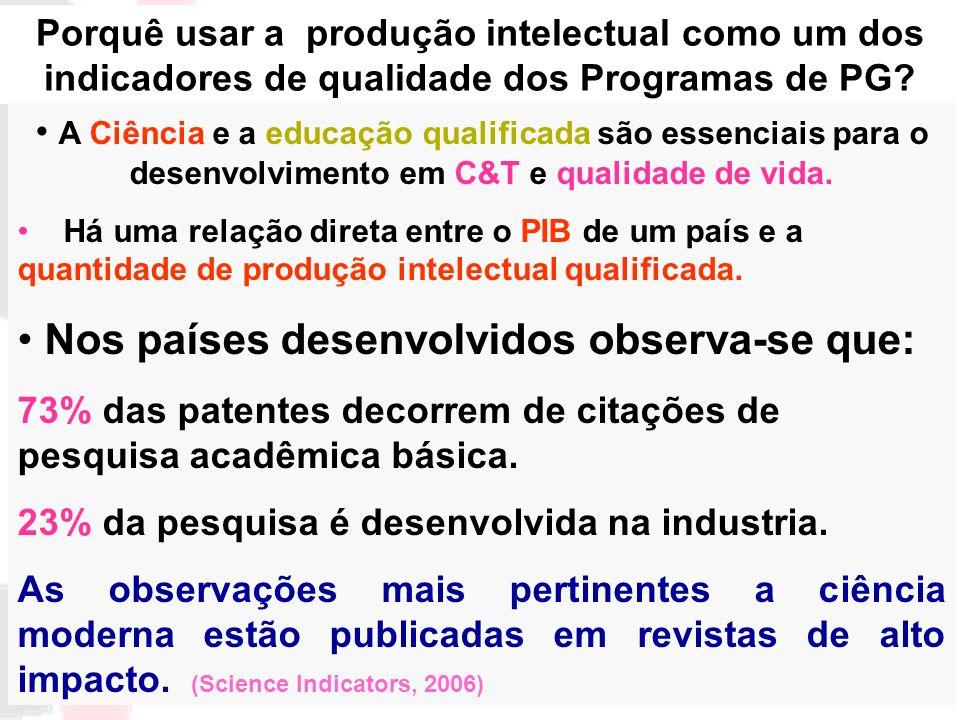 Porquê usar a produção intelectual como um dos indicadores de qualidade dos Programas de PG? A Ciência e a educação qualificada são essenciais para o
