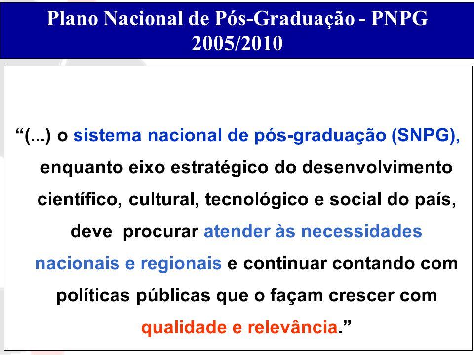 Plano Nacional de Pós-Graduação - PNPG 2005/2010 (...) o sistema nacional de pós-graduação (SNPG), enquanto eixo estratégico do desenvolvimento cientí