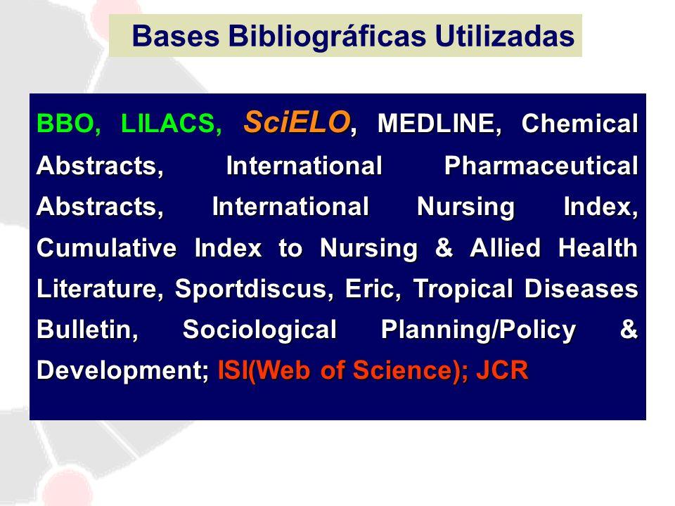 Bases Bibliográficas Utilizadas SciELO, MEDLINE, Chemical Abstracts, International Pharmaceutical Abstracts, International Nursing Index, Cumulative I