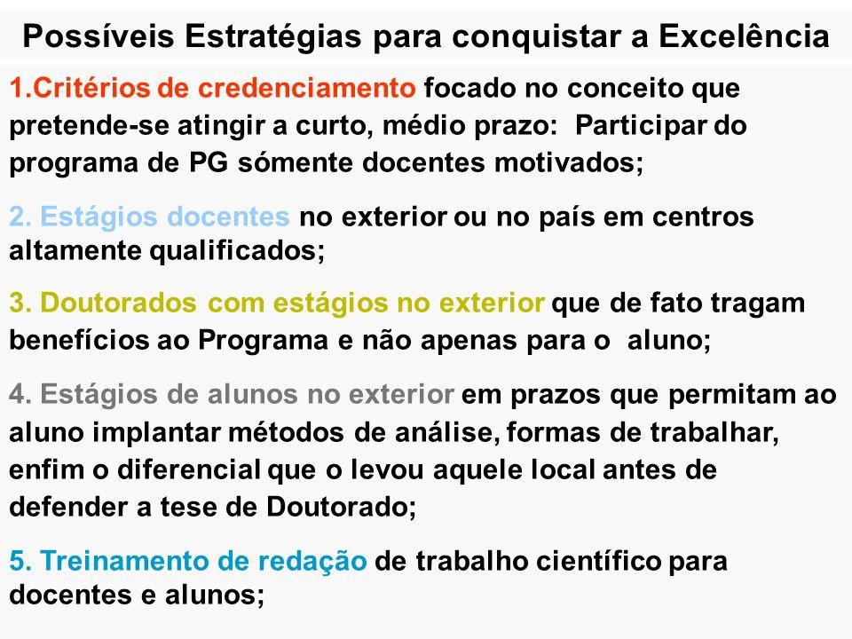 Possíveis Estratégias para conquistar a Excelência 1.Critérios de credenciamento focado no conceito que pretende-se atingir a curto, médio prazo: Part