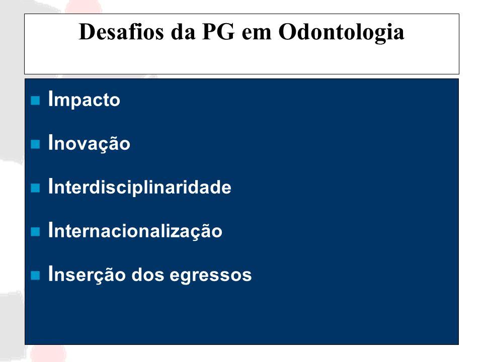 Desafios da PG em Odontologia n I mpacto n I novação n I nterdisciplinaridade n I nternacionalização n I nserção dos egressos