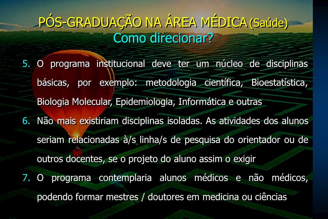 PÓS-GRADUAÇÃO NA ÁREA MÉDICA (Saúde) Como direcionar? PÓS-GRADUAÇÃO NA ÁREA MÉDICA (Saúde) Como direcionar? 5.O programa institucional deve ter um núc