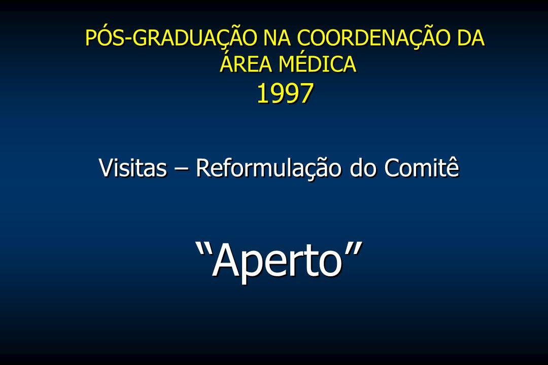 Visitas – Reformulação do Comitê Aperto PÓS-GRADUAÇÃO NA COORDENAÇÃO DA ÁREA MÉDICA 1997 PÓS-GRADUAÇÃO NA COORDENAÇÃO DA ÁREA MÉDICA 1997