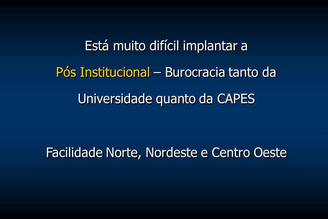 Está muito difícil implantar a Pós Institucional – Burocracia tanto da Universidade quanto da CAPES Facilidade Norte, Nordeste e Centro Oeste Está mui