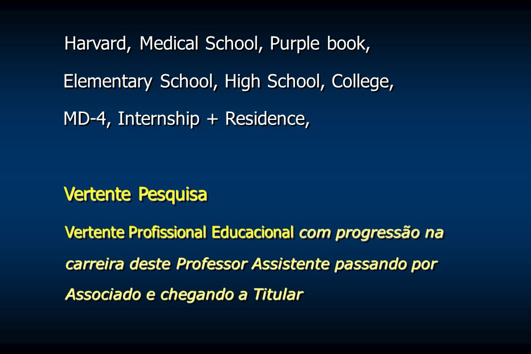 Harvard, Medical School, Purple book, Elementary School, High School, College, MD-4, Internship + Residence, Vertente Pesquisa Vertente Profissional E