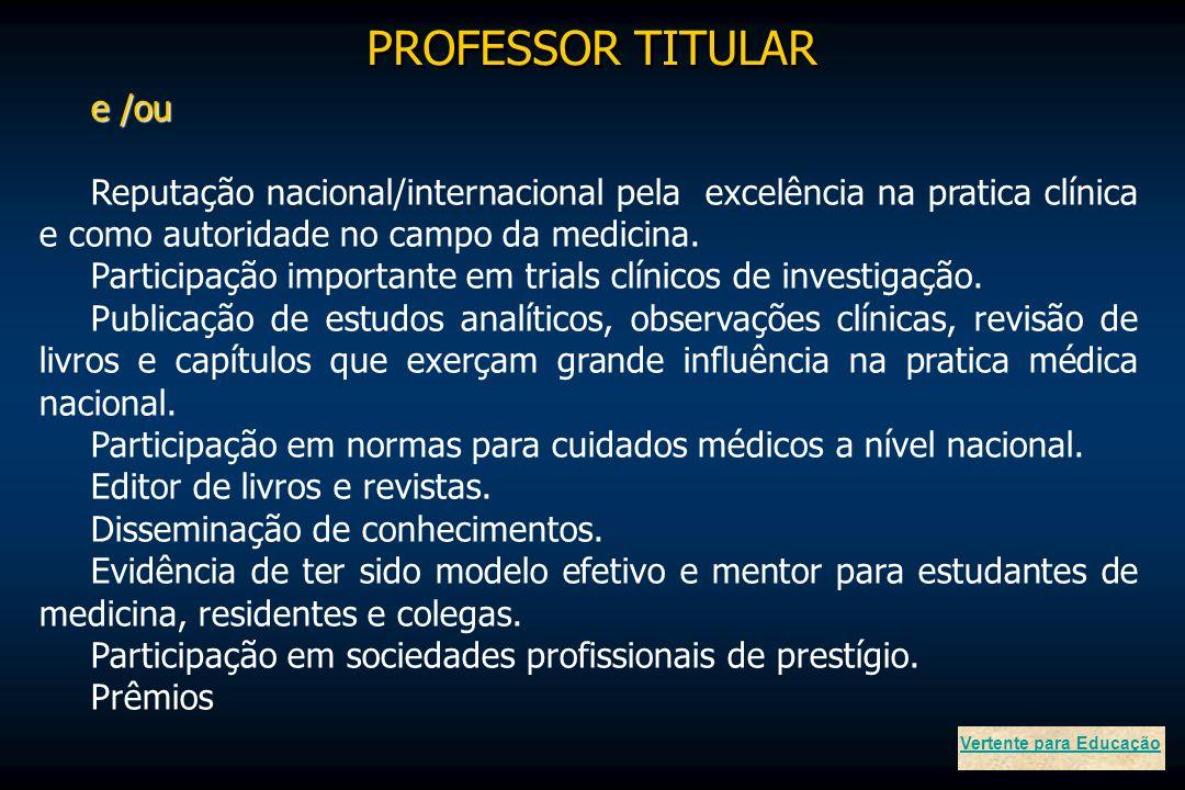 e /ou Reputação nacional/internacional pela excelência na pratica clínica e como autoridade no campo da medicina. Participação importante em trials cl