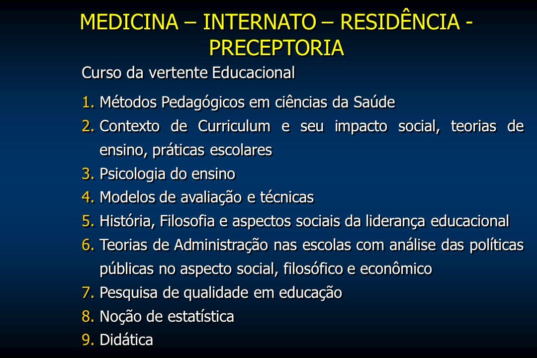 MEDICINA – INTERNATO – RESIDÊNCIA - PRECEPTORIA Curso da vertente Educacional 1.Métodos Pedagógicos em ciências da Saúde 2.Contexto de Curriculum e se