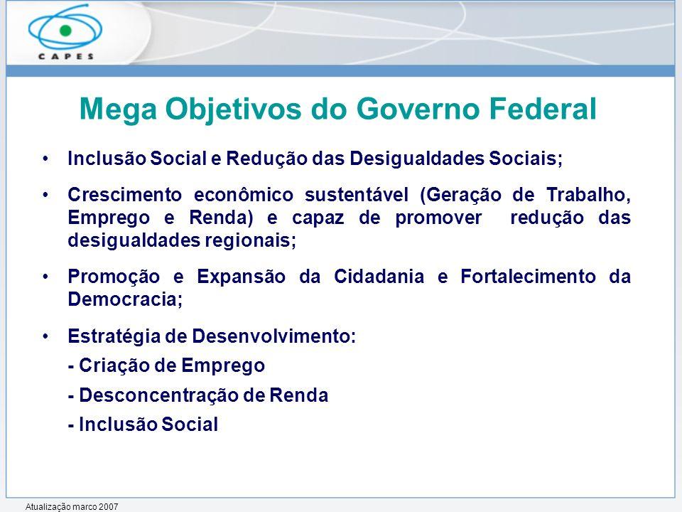 Mega Objetivos do Governo Federal Inclusão Social e Redução das Desigualdades Sociais; Crescimento econômico sustentável (Geração de Trabalho, Emprego