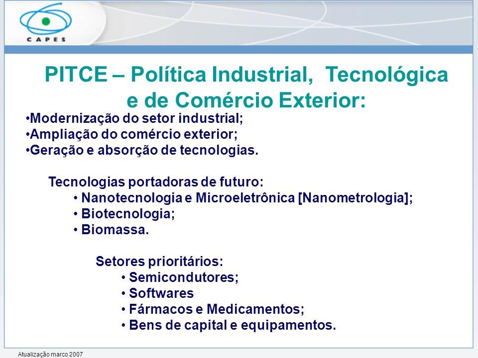 Modernização do setor industrial; Ampliação do comércio exterior; Geração e absorção de tecnologias. Tecnologias portadoras de futuro: Nanotecnologia