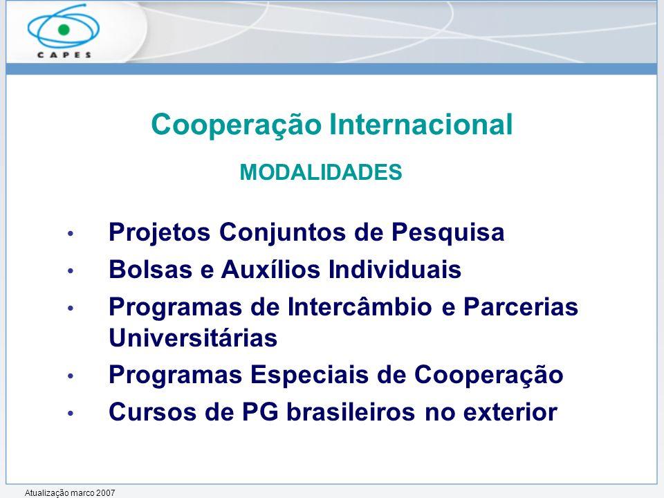 Projetos Conjuntos de Pesquisa Bolsas e Auxílios Individuais Programas de Intercâmbio e Parcerias Universitárias Programas Especiais de Cooperação Cur