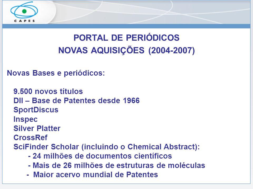 PORTAL DE PERIÓDICOS NOVAS AQUISIÇÕES (2004-2007) Novas Bases e periódicos: 9.500 novos títulos DII – Base de Patentes desde 1966 SportDiscus Inspec S