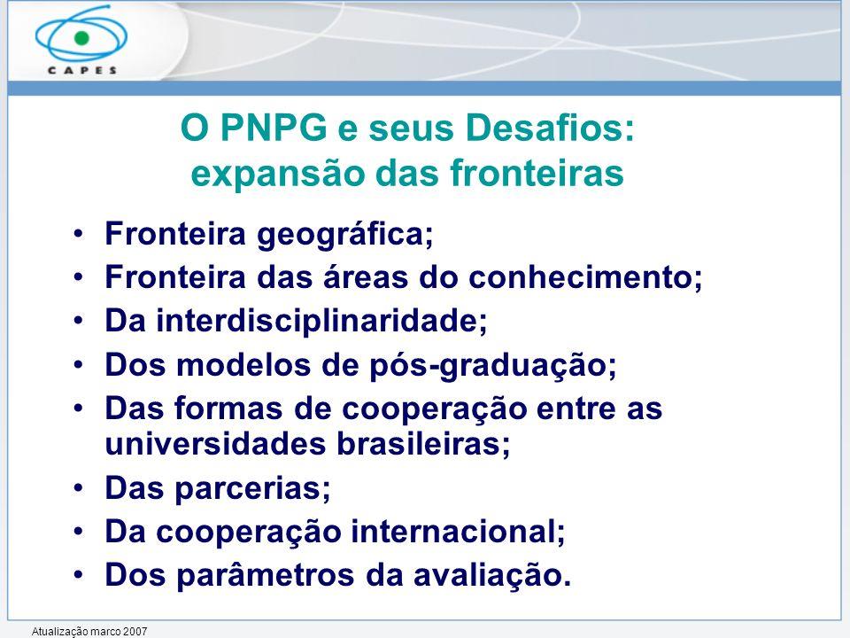 O PNPG e seus Desafios: expansão das fronteiras Fronteira geográfica; Fronteira das áreas do conhecimento; Da interdisciplinaridade; Dos modelos de pó
