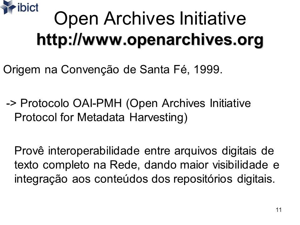 11 http://www.openarchives.org Open Archives Initiative http://www.openarchives.org Origem na Convenção de Santa Fé, 1999. -> Protocolo OAI-PMH (Open