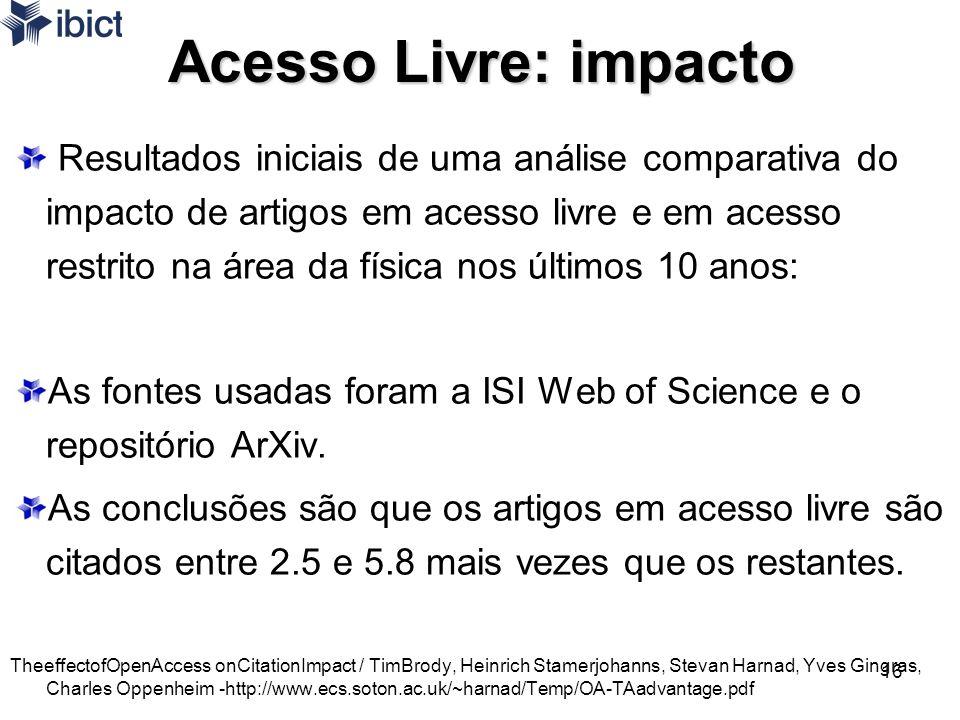 16 Acesso Livre: impacto Resultados iniciais de uma análise comparativa do impacto de artigos em acesso livre e em acesso restrito na área da física n