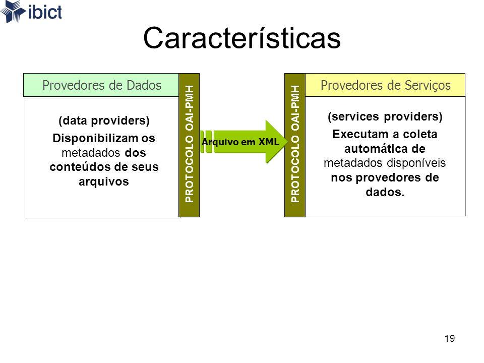 19 (services providers) Executam a coleta automática de metadados disponíveis nos provedores de dados. Características (data providers) Disponibilizam