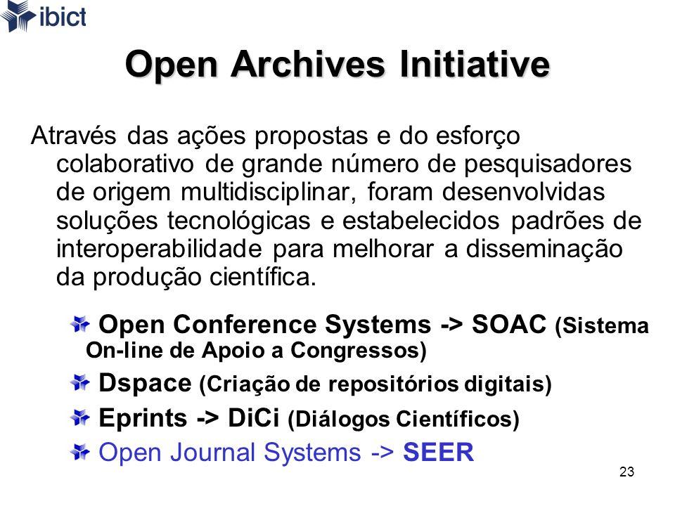 23 Open Archives Initiative Através das ações propostas e do esforço colaborativo de grande número de pesquisadores de origem multidisciplinar, foram