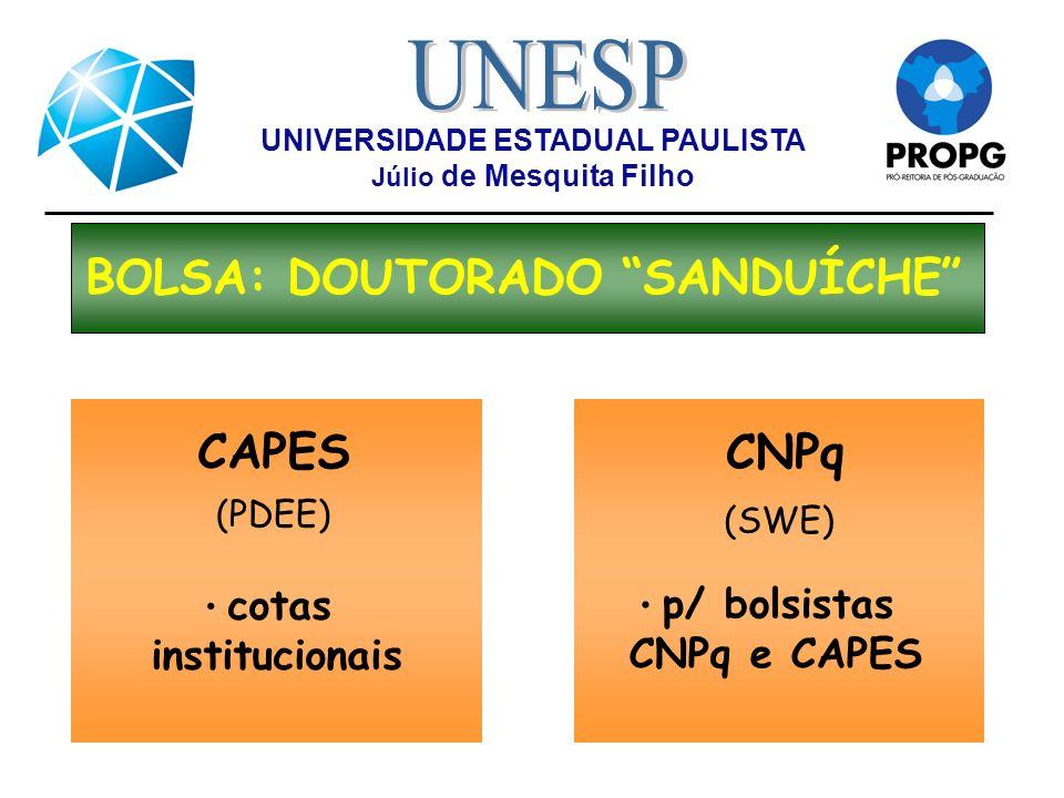 UNIVERSIDADE ESTADUAL PAULISTA Júlio de Mesquita Filho BOLSA: DOUTORADO SANDUÍCHE CNPq (SWE) p/ bolsistas CNPq e CAPES CAPES (PDEE) cotas instituciona