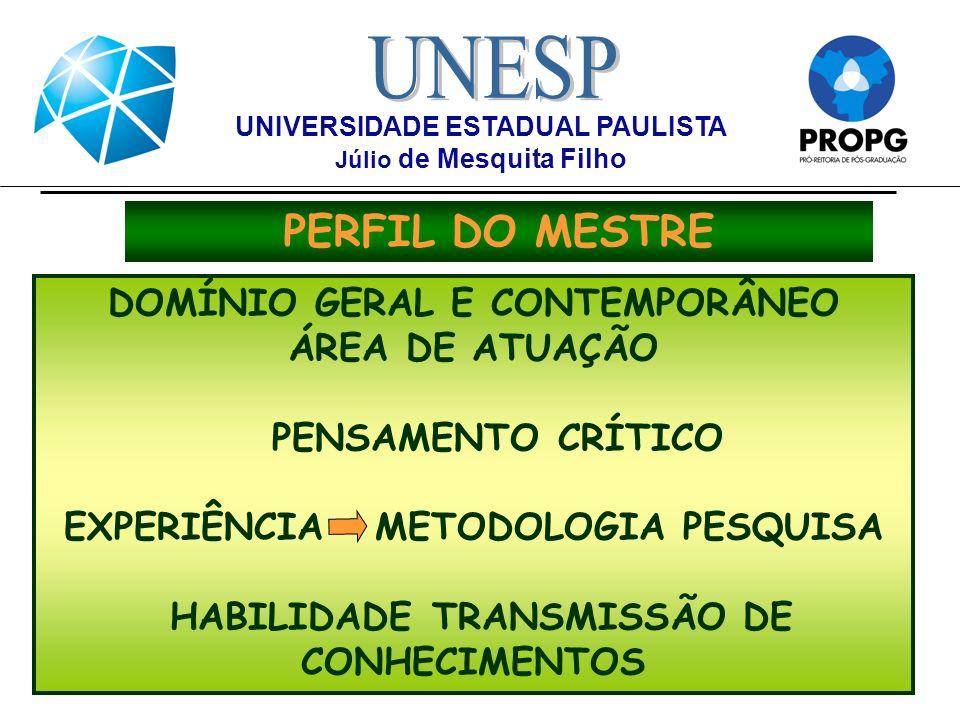 PERFIL DO DOUTOR DOMÍNIO AMPLO/APROFUNDADO DA ÁREA DE CONHECIMENTO CAPAZ DE IDENTIFICAR PROBLEMAS PROBLEMAS DESENVOLVER PESQUISA COM PESQUISA COM INDEPENDÊNCIA INDEPENDÊNCIA E AUTONOMIA FORMAR NOVOS RH PARA GERAÇÃO E TRANSMISSÃO DE NOVOS NOVOS CONHECIMENTOS CONHECIMENTOS UNIVERSIDADE ESTADUAL PAULISTA Júlio de Mesquita Filho