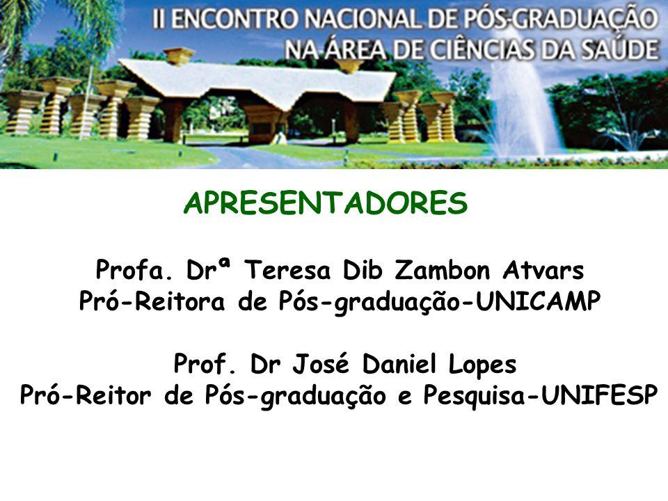 APRESENTADORES Profa. Drª Teresa Dib Zambon Atvars Pró-Reitora de Pós-graduação-UNICAMP Prof.