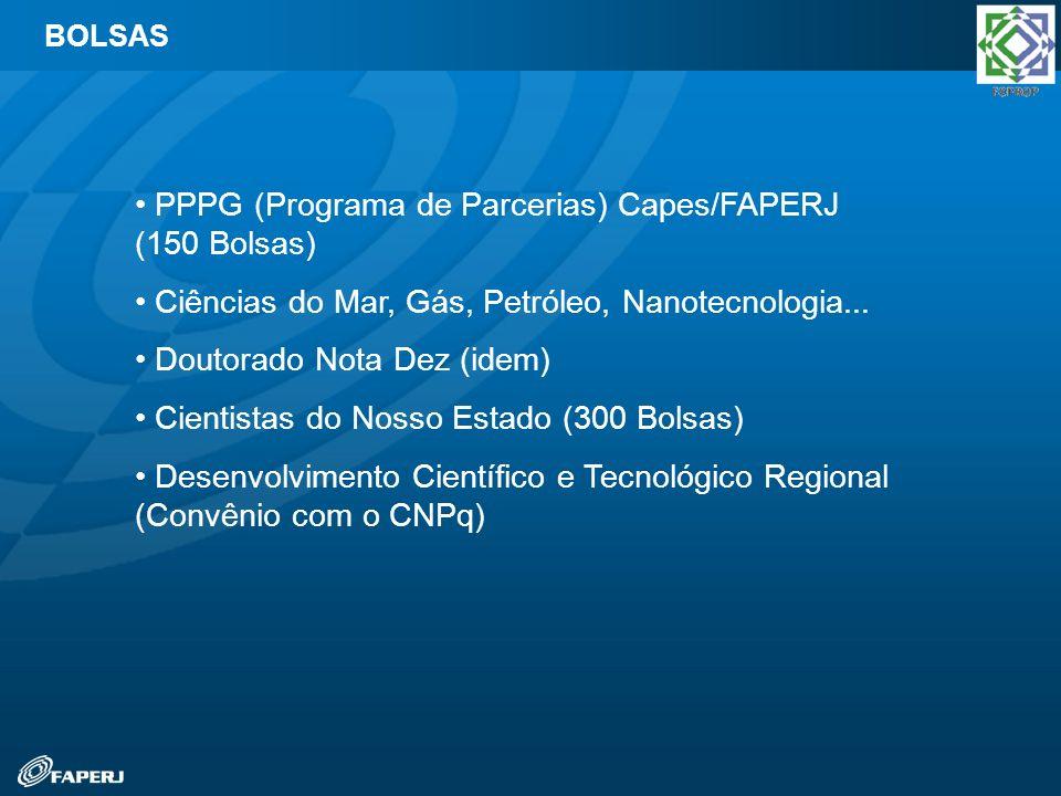 PPPG (Programa de Parcerias) Capes/FAPERJ (150 Bolsas) Ciências do Mar, Gás, Petróleo, Nanotecnologia... Doutorado Nota Dez (idem) Cientistas do Nosso
