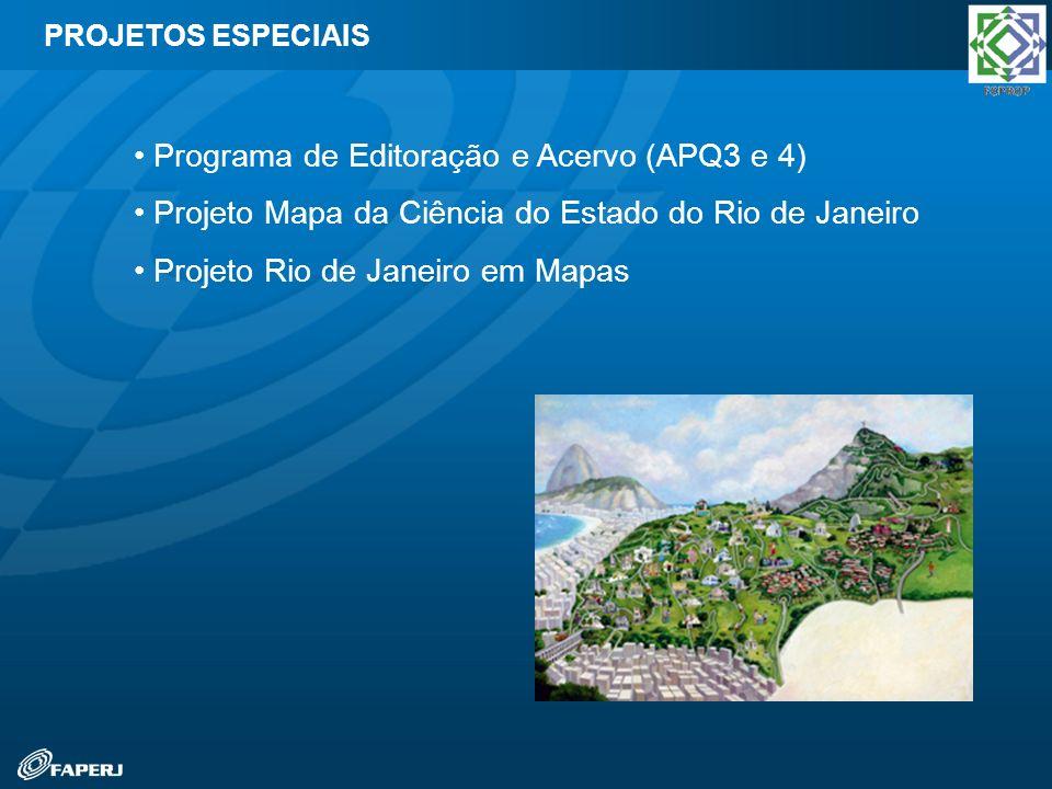 Programa de Editoração e Acervo (APQ3 e 4) Projeto Mapa da Ciência do Estado do Rio de Janeiro Projeto Rio de Janeiro em Mapas PROJETOS ESPECIAIS