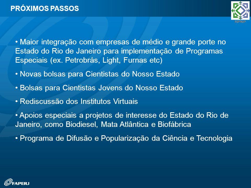 PRÓXIMOS PASSOS Maior integração com empresas de médio e grande porte no Estado do Rio de Janeiro para implementação de Programas Especiais (ex. Petro