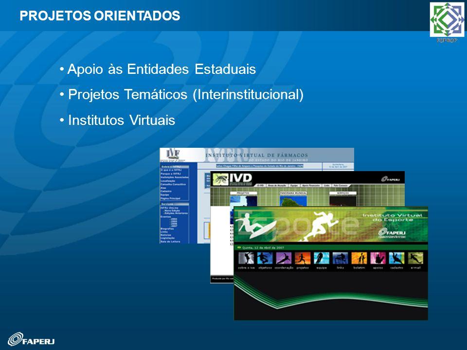 Programa de Biotecnologia PADCT Rio (MCT/CNPq) Pronex (MCT/CNPq) Programa Rio Inovação (Finep) Primeiros Projetos (CNPq e Finep) Pesquisa Para o SUS (MCT/CNPq) Desenvolvimento Científico Regional PROJETOS EM PARCERIA COM O GOVERNO FEDERAL