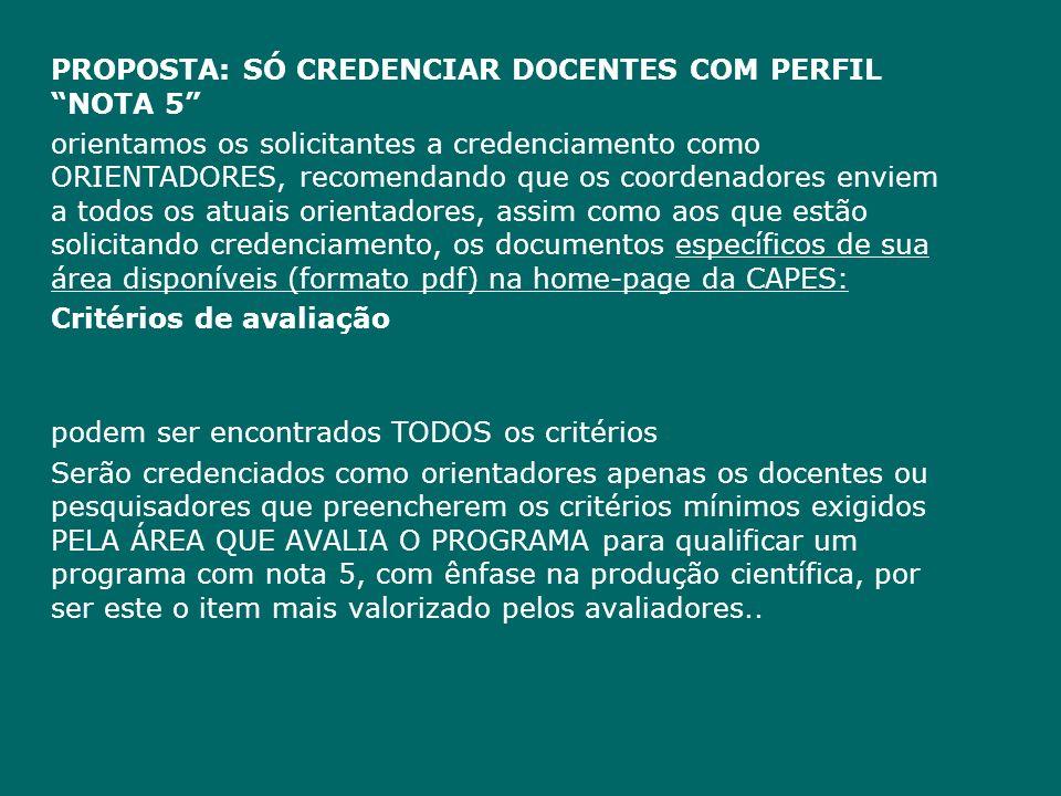 PROPOSTA: SÓ CREDENCIAR DOCENTES COM PERFIL NOTA 5 orientamos os solicitantes a credenciamento como ORIENTADORES, recomendando que os coordenadores en