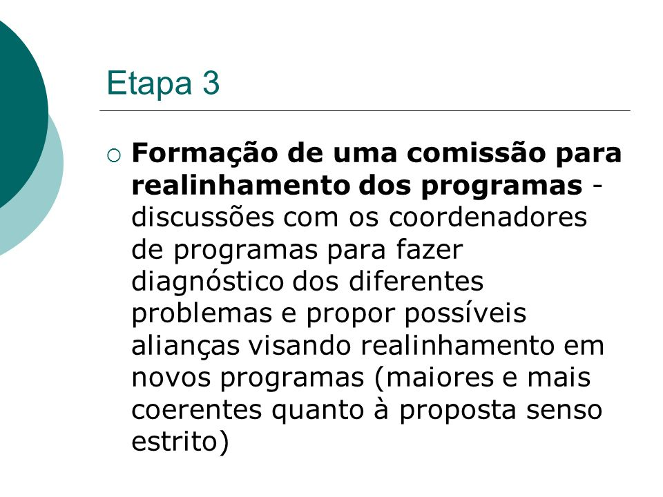 Etapa 3 Formação de uma comissão para realinhamento dos programas - discussões com os coordenadores de programas para fazer diagnóstico dos diferentes