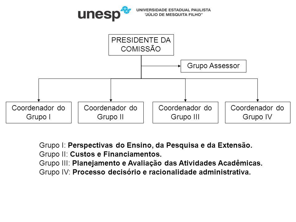 PRESIDENTE DA COMISSÃO Coordenador do Grupo I Coordenador do Grupo II Coordenador do Grupo III Coordenador do Grupo IV Grupo Assessor Grupo I: Perspec