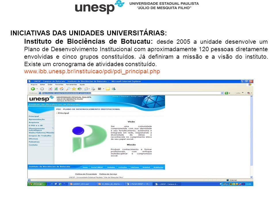 INICIATIVAS DAS UNIDADES UNIVERSITÁRIAS: Instituto de Biociências de Botucatu: desde 2005 a unidade desenvolve um Plano de Desenvolvimento Institucion