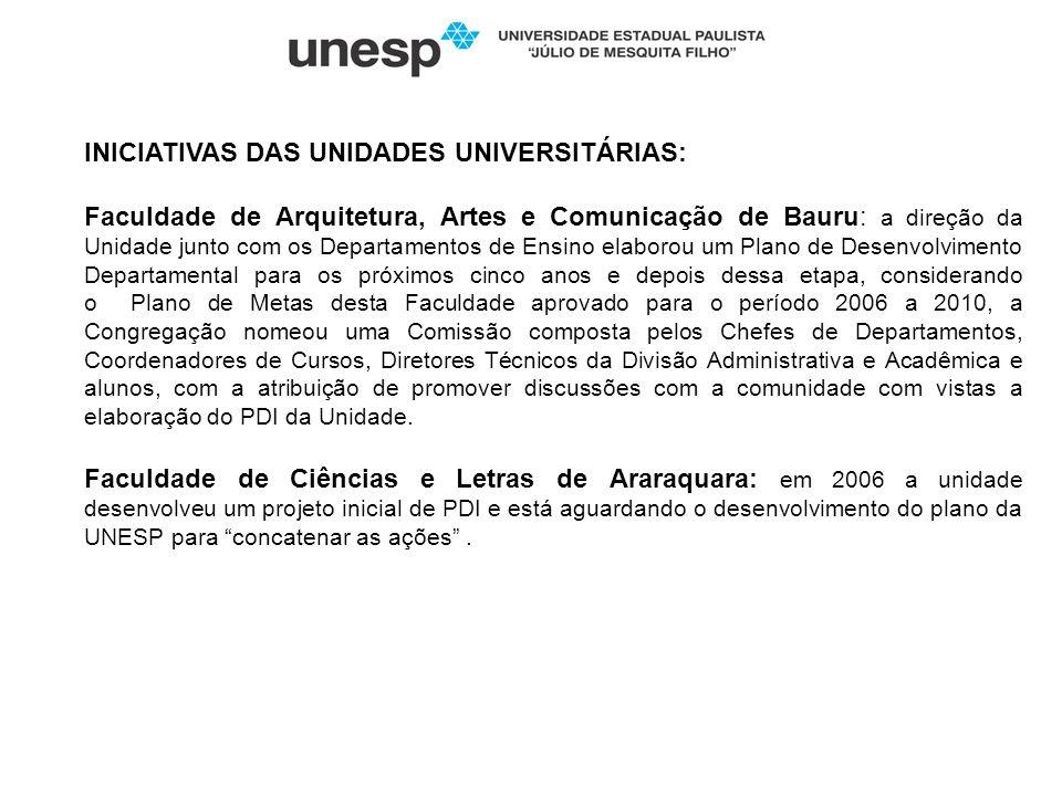 INICIATIVAS DAS UNIDADES UNIVERSITÁRIAS: Faculdade de Arquitetura, Artes e Comunicação de Bauru: a direção da Unidade junto com os Departamentos de En