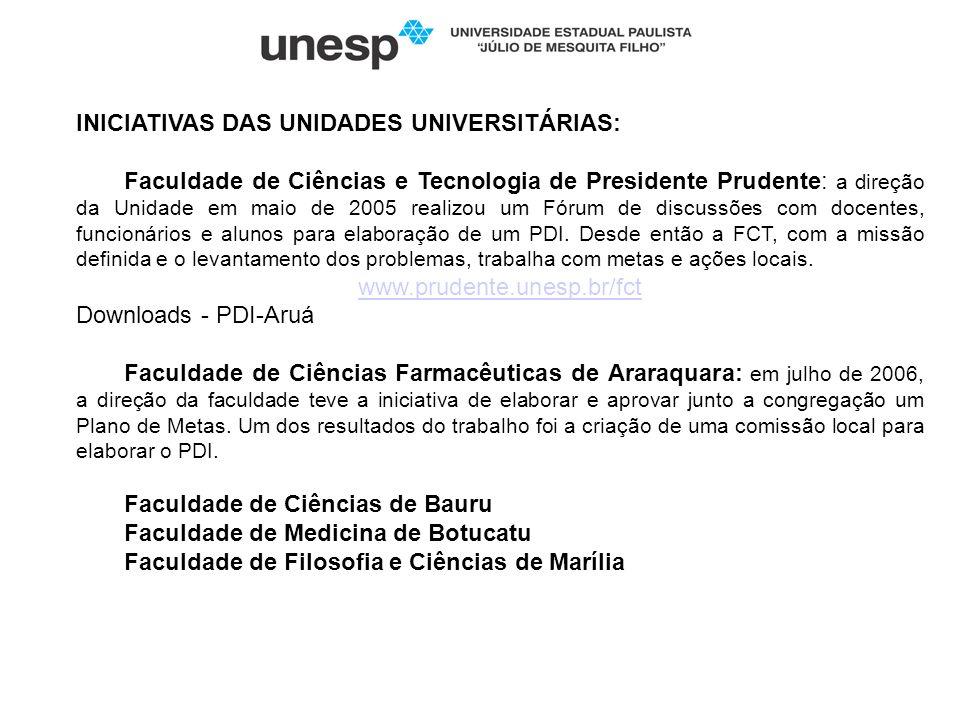 INICIATIVAS DAS UNIDADES UNIVERSITÁRIAS: Faculdade de Ciências e Tecnologia de Presidente Prudente: a direção da Unidade em maio de 2005 realizou um F