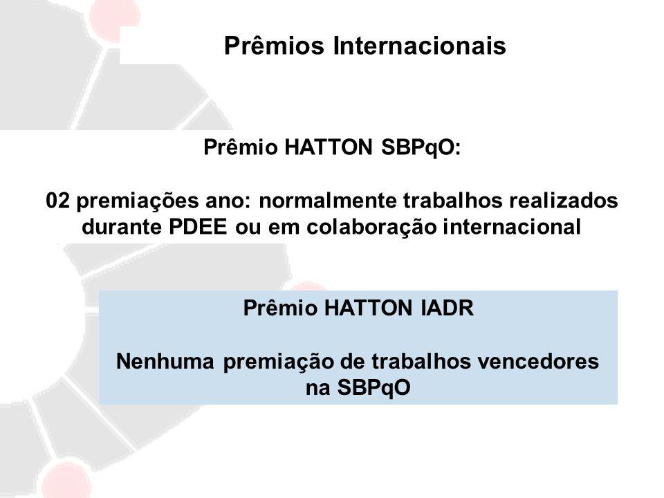 Prêmios Internacionais Prêmio HATTON SBPqO: 02 premiações ano: normalmente trabalhos realizados durante PDEE ou em colaboração internacional Prêmio HA