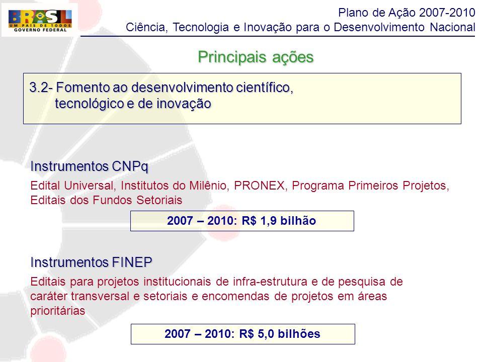3.2- Fomento ao desenvolvimento científico, tecnológico e de inovação tecnológico e de inovação Instrumentos CNPq Edital Universal, Institutos do Milê