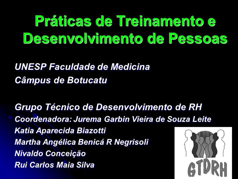 Práticas de Treinamento e Desenvolvimento de Pessoas UNESP Faculdade de Medicina Câmpus de Botucatu Grupo Técnico de Desenvolvimento de RH Coordenador