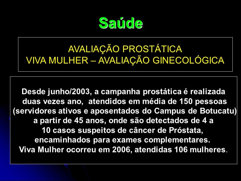 Saúde AVALIAÇÃO PROSTÁTICA VIVA MULHER – AVALIAÇÃO GINECOLÓGICA Desde junho/2003, a campanha prostática é realizada duas vezes ano, atendidos em média