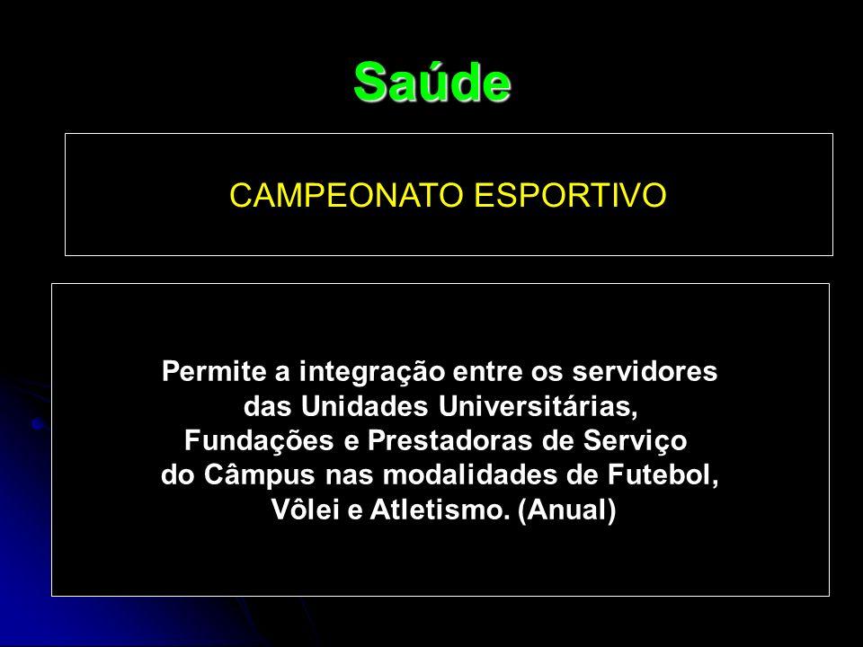 Saúde CAMPEONATO ESPORTIVO Permite a integração entre os servidores das Unidades Universitárias, Fundações e Prestadoras de Serviço do Câmpus nas moda