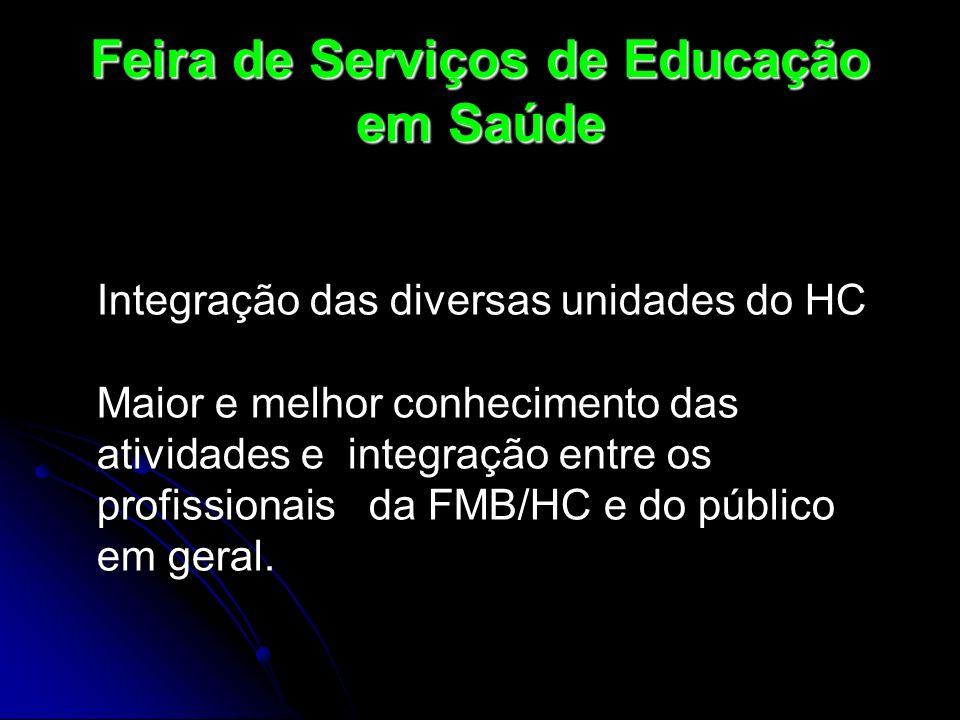 Feira de Serviços de Educação em Saúde Integração das diversas unidades do HC Maior e melhor conhecimento das atividades e integração entre os profiss