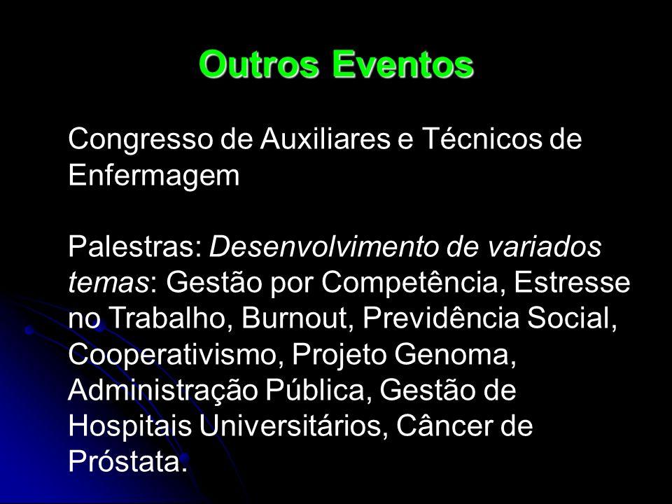 Outros Eventos Congresso de Auxiliares e Técnicos de Enfermagem Palestras: Desenvolvimento de variados temas: Gestão por Competência, Estresse no Trab